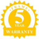 Five year industry leading warranty badge