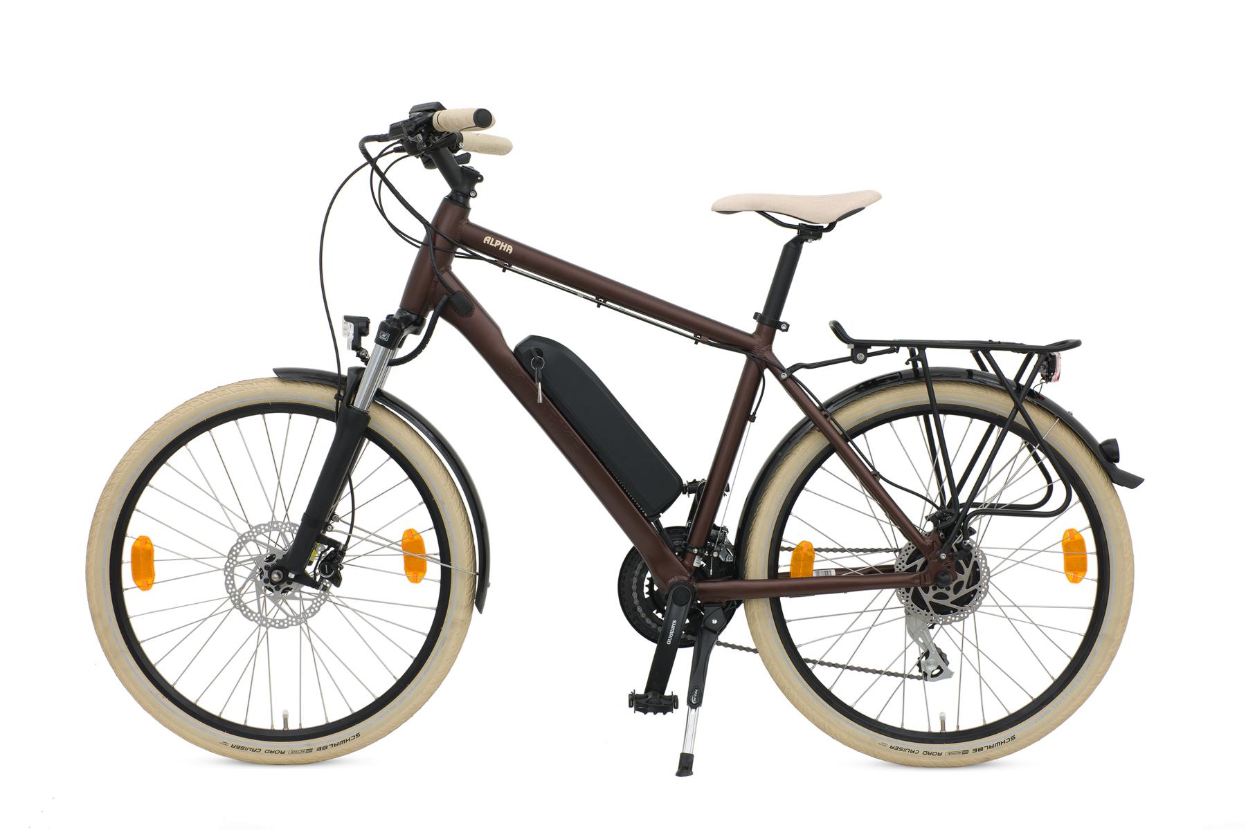 alpha earth brown crossbar hybrid e bike batribike. Black Bedroom Furniture Sets. Home Design Ideas